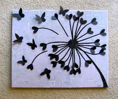 Dandelion Art made with cardstock cut-outs of hearts and butterflies *Black Background with White Flower *Lavender/Grey Back ground with Black