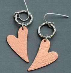 Sterling silver copper heart dangle earrings, little hoops, mixed metal Amazon handmade love jewelry for women -- Click on the image for additional details.