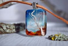 resin necklace nature necklace real flower necklace by VyTvir