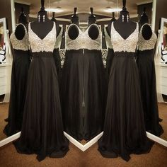 V-Neck Beading Natural Floor-length Chiffon Prom Dresses