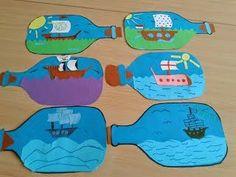 Pirate Art Project boat in a bottle drawings