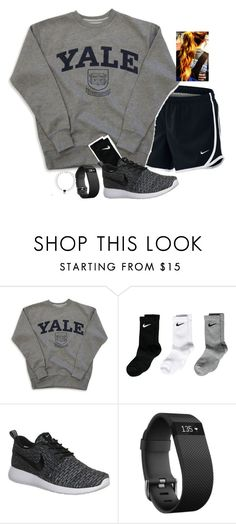 """""""baseball game to see bae tonight """" by madelynhp ❤ liked on Polyvore featuring NIKE and Fitbit"""