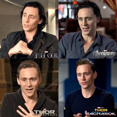 """Tom Hiddleston in interviews over the years. 2011-2018 Loki is not a villain. You can't change my mind!"" Images via torrilla. Edit by HiddlesPage on Twitter"