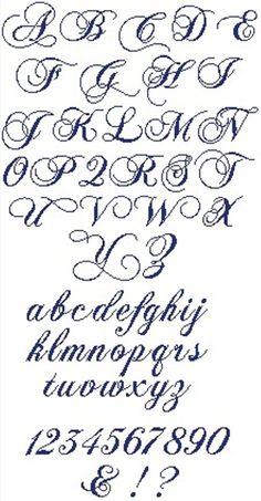 Alphabet à broder au point de croix. Retrouvez le diagramme gratuitement ici [http://swappons.kazeo.com/les-alphabets-de-sof/haendel,a391431.html]