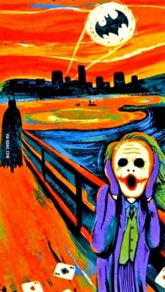 Batman and Joker spoof of Edward Munch's 'The Scream'. Humor Batman, Im Batman, Batman Art, Batman Cartoon, Joker Kunst, Batman Kunst, Arte Pop, Comic Kunst, Comic Art