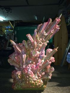 Under the Sea themed coral made from great stuff, spray paint, and pool noodles.