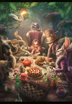 alice at the mad tea party Mad Tea Parties, Tea Party, Art Eras, White Rabbits, Were All Mad Here, Deviantart, Disney Fun, Alice In Wonderland, Character Art
