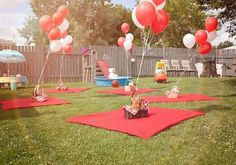 Balloons and blankets for Picnic party Idea | Classic Kids Party Ideas For The Homesteading Family | Fun and Cool DIY Outdoor Parties by Pioneer Settler at http://pioneersettler.com/classic-kids-party-ideas-homesteading-family/