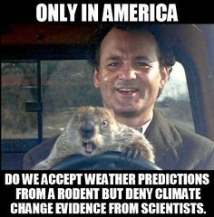 We accept weather predictions from a rodent but deny climate change evidence from scientists.