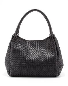 V1SYP Bottega Veneta Parachute Intrecciato Tote Bag, Black