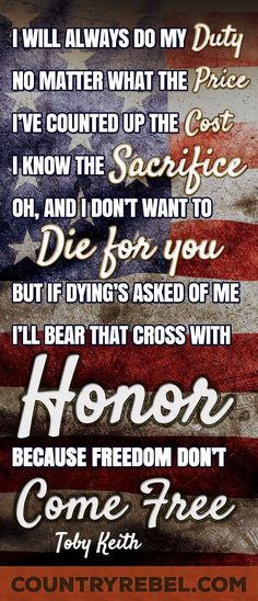 Country Music Lyrics - Quotes for Veterans - Watch Iraq War Veteran Stun on Dancing With The Stars with Toby Keiths American Soldier