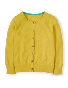 Boden cropped cashmere cardigan in yellow.