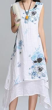 Saiqigui Summer dress New Fashion sleeveless women dress casual cotton Linen dress Printed o-neck plus size vestidos de festa