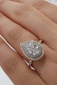 10 Fresh Engagement Ring Trends For 2018 ❤️ engagement ring trends pear cut diamond double halo white gold ❤️ See more: http://www.weddingforward.com/ring-trends/ #weddingforward #wedding #bride #engagementrings Eengagementringstrends