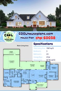 Farmhouse Home Plan is a 3 Bedrooms, Bath and Great Curb Appeal – COOL House Plans Country house plan with 1967 sq. Best House Plans, Country House Plans, Dream House Plans, Modern House Plans, Small House Plans, House Floor Plans, Open Floor Plans, Kitchen Floor Plans, Farmhouse Fireplace