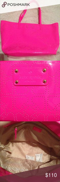 """Kate spade small harmony Beautiful BNWT authentic Kate spade small harmony patent  tote in pink sapphire, perfect color for spring! Fabric lining with zip and fell pockets. Measures 17""""L x 10.25""""H x 6"""" W. kate spade Bags Totes"""