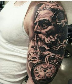 Timeless Pocket Watch Tattoo Ideas - A Classic and Fashionable Totem Cool Chest Tattoos, Chest Tattoos For Women, Chest Piece Tattoos, Badass Tattoos, Cool Tattoos, Zeus Tattoo, Poseidon Tattoo, Calf Tattoo, Grey Tattoo