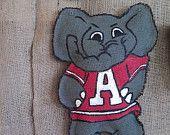 """Alabama """"Big Al"""" Elephant stuffed burlap door hanger hand painted"""