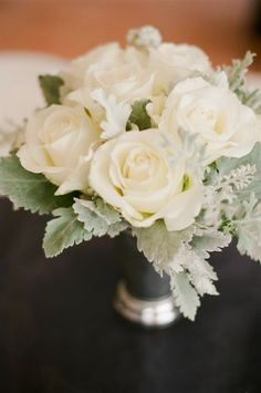 We'll never be sick of an all white rose bouquet! {Danae Grace Events}