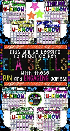 Practice important ELA skills in an engaging way with U-Know!!  Great for centers, review, and early finishers.  Covers fact and opinion, theme, synonyms and antonyms, author's purpose, Greek and Latin roots, prefixes and suffixes, figurative language and text structure in the upper elementary/intermediate classroom!