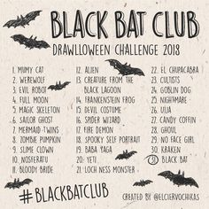 Drawlloween challenge 2018 Black Bat Club 30 Day Drawing Challenge, Art Challenge, Drawing Themes, Art Drawings, Computer Drawing, Art Journal Prompts, What To Draw, Drawing Prompt, Illustration