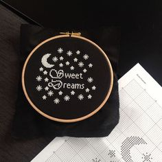 This modern cross stitch kit will glow in the dark! It will make a a great decoration in a children's room, or a nice gift for your star in the world. We will ship this kit to your address. The kit includes: - A print of the cross stitch pattern - 1 embroidery needle - Glow in the Dark