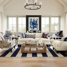 Amazing White Sofa Design Ideas Pictures For Living Room Popular Impressive 20 Clean And Gorgeous Home Lover Pertaining To Ordinary Awesome With Regard Interior Inside Coastal Living Rooms, Living Room Paint, Rugs In Living Room, Home And Living, Living Room Designs, Living Room Decor, Coastal Cottage, Coastal Homes, Living Area