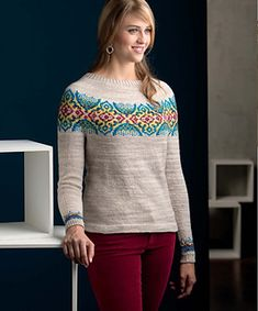 Knit in the round from the top down, this Fair Isle yoke pullover is a work of art not unlike the Byzantine mosaics that inspired it.