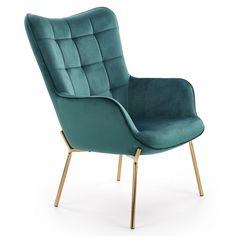 Fotoliul Castel II este tapitat cu catifea, avand picioare din metal vopsit auriu. In stil modern, confortabil si elegant, este ideal pentru camera de zi, dormitor, zone de relaxare, cafenele, birouri.  #fotoliu #verde #green #gold #velvet #chair #inspohome #accent #chair #furniture #sofa #interior #design #ideas #homeinspiration #homedecorideas #home #details Accent Chairs, Armchair, Relax, Interior, Furniture, Home Decor, Design, Rosario, Green