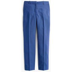 J.Crew Cigarette Pant ($155) ❤ liked on Polyvore featuring pants, cigarette pants, jacquard trousers, j crew trousers, blue pants and tapered leg pants