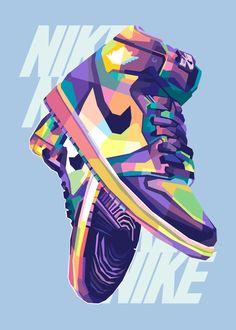 Jordan Shoes Wallpaper, Sneakers Wallpaper, Nike Drawing, Illustration Pop Art, Pop Art Poster, Nike Wallpaper Iphone, Sneaker Posters, Sneaker Art, Shoe Art