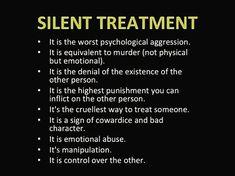 Silent treatment, a tool of narcissistic abusers Narcissistic People, Narcissistic Behavior, Narcissistic Abuse Recovery, Narcissistic Personality Disorder, Narcissistic Sociopath, Signs Of A Sociopath, Borderline Personality Disorder Quotes, Silent Treatment Quotes, The Silent Treatment