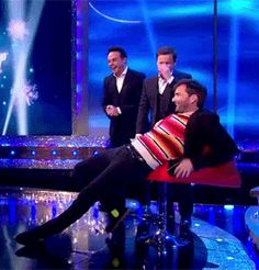 "David Tennant sits in a chair (with style) on Ant and Dec's Saturday Night Takeaway ""This is very comfortable…"""