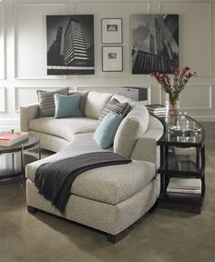 Love this Michael Weiss curved sectional!  Tailored, stylish and perfect for city living