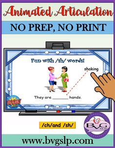 Animated Articulation CH and SH Phonological Processes, Interactive Learning, Mobile Learning, Speech Pathology, Speech Therapy Activities, Phonemic Awareness, Educational Technology, Mobile Technology, Speech And Language