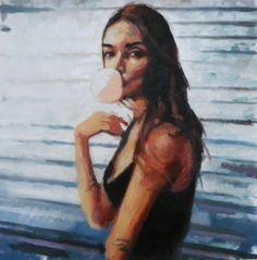 "Saatchi Online Artist: thomas saliot; Oil, Painting ""Gum girl"""