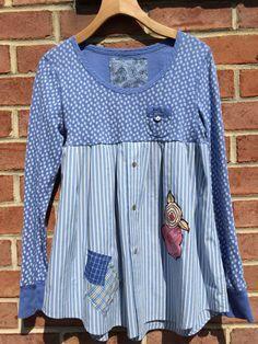 VENTA Chic shabby túnica upcycled ropa floral azul