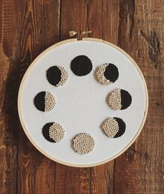 Beaded Moon Phases by GoodOmenShop on Etsy Hand Embroidery Patterns, Embroidery Thread, Cross Stitch Embroidery, Kawaii Diy, Cross Stitch Art, Pin And Patches, Drawing For Kids, Needlepoint, Etsy
