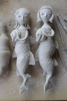 Melusine the Avalonian Mermaid. Pottery Sculpture, Sculpture Clay, Pottery Clay, Slab Pottery, Thrown Pottery, Ceramic Sculptures, Pottery Studio, Pottery Vase, Mermaid Dolls
