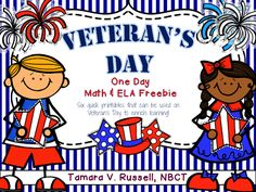 This freebie has several Veteran's Day printables that would be appropriate for firsties and seconds.