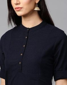 Navy Blue Cotton Kurti Plain Straight Look Plain Kurti Designs, Silk Kurti Designs, Simple Kurta Designs, Churidar Designs, Kurta Designs Women, Kurti Designs Party Wear, Stylish Dress Designs, Blouse Neck Designs, Designs For Dresses