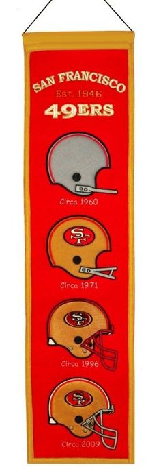 NFL San Francisco... http://www.757sc.com/products/nfl-san-francisco-49ers-heritage-banner-8x32-wool-embroidered?utm_campaign=social_autopilot&utm_source=pin&utm_medium=pin #nfl #mlb #nba #nhl #ncaaa #757sc