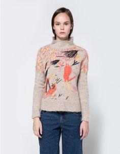 From Rachel Comey, an alpaca blend pullover sweater in Oatmeal Multi. High-neck collar. Rib details. Straight hem. • 81% alpaca, 19% nylon • Hand wash, dry flat