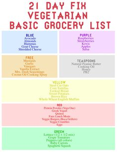 21-Day Fix Grocery List | 21 Day Fix Vegetarian Basic Grocery List