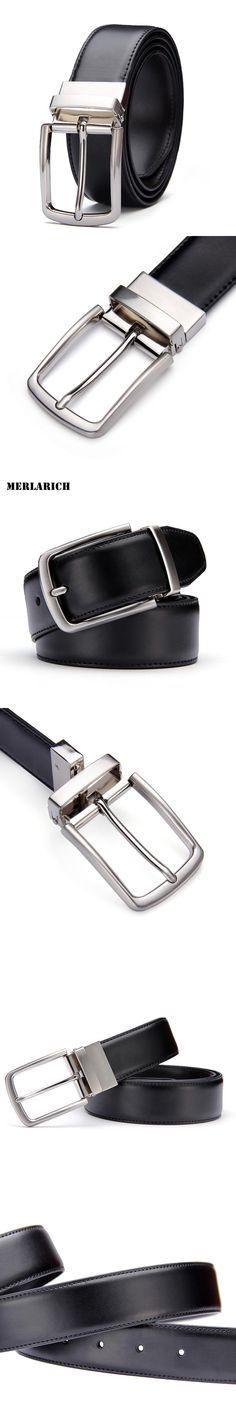 [MERLARICH]New genuine leather men belts classic black luxury designer business dress belt switch fancy vintage jeans cintos