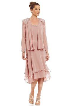 Sheath/Column Straps Tea-length Chiffon Mother of the Bride Dress