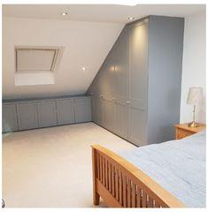 Attic Bedroom Ideas Angled Ceilings, Attic Bedroom Storage, Bedroom Closet Doors, Attic Bedroom Designs, Attic Design, Attic Rooms, Closet Bedroom, Home Design, Design Ideas