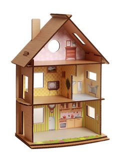 dollhouse from cardboard Cardboard Dollhouse, Cardboard Furniture, Cardboard Crafts, Barbie Furniture, Diy Dollhouse, Dollhouse Furniture, Doll House Cardboard, Cardboard Playhouse, Diy For Kids