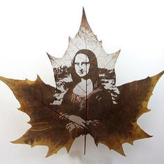 Mona Lisa - by Leaf Carving Art in California;  The incredibly detailed portraits and pictures are all created out of single leaves. It takes an an incredibly complicated process of almost 60 steps to create the miniature masterpieces.  - photo by Caters News, via telegraph