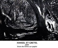 Lorenzo MATTOTTI - 6 Déc 2015 au 6 mars 2016 - au Capucins - Landerneau // La rédaction du New Yorker propose à Mattotti de réinterpréter le conte d'Ansel et Gretel. Cela fait plusieurs années qu'il explore le thème de la forêt et pour lui, c'est comme si le décor de l'histoire était déjà planté. Bien que l'obscurité domine, c'est autour du blanc que s'ordonne chaque composition.